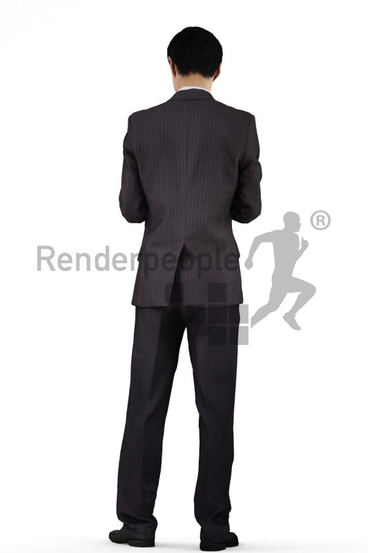 3d people business, asian 3d man standing and typing on his tablet