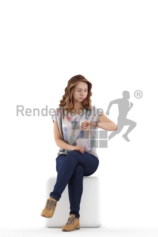 Scanned 3D People model for visualization – european woman in casual spring outfit, sitting and checking the time