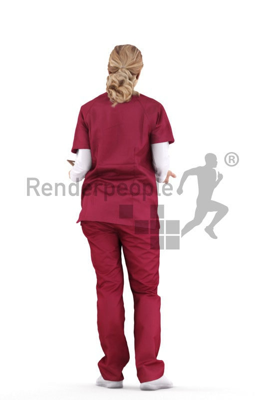 Scanned 3D People model for visualization – european female wearing medical wear, holding a clipboard and interacting