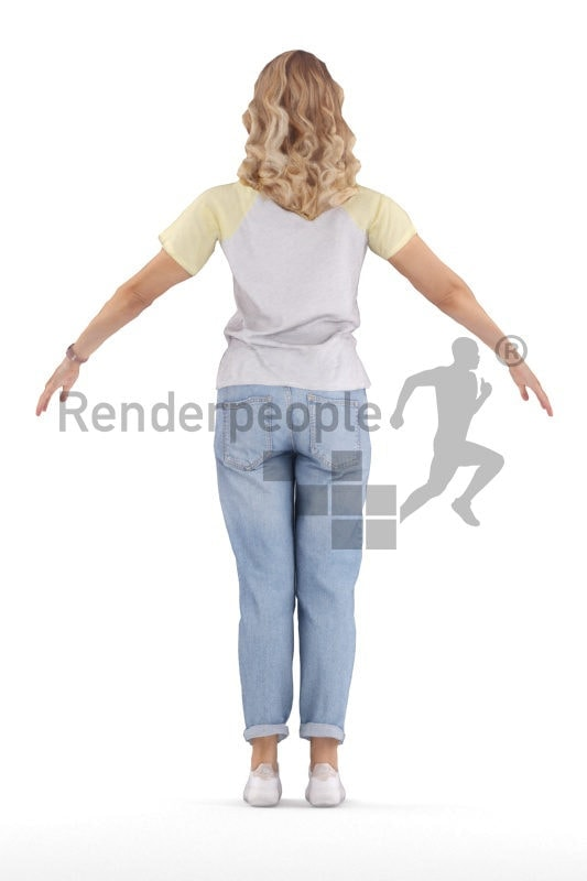 Rigged human 3D model by Renderpeople – white woman in casual spring look, mom jeans