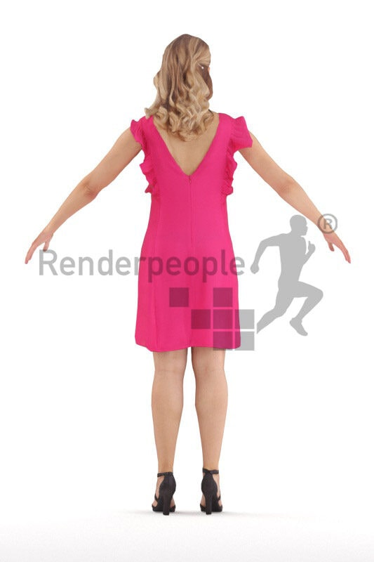 Rigged human 3D model by Renderpeople – caucasian woman in chic pink event dress