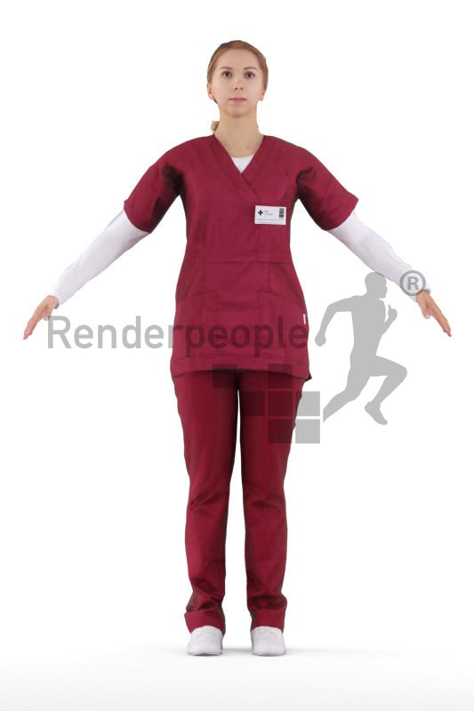 Rigged human 3D model by Renderpeople – european woman in healthcare outfit, red