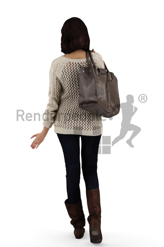 3d people shopping, friendly 3d woman on shopping tour