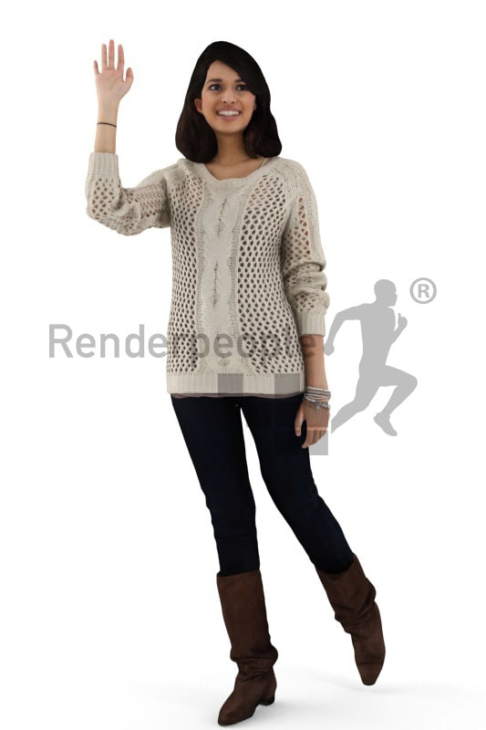 3d people casual, indian 3d woman waving