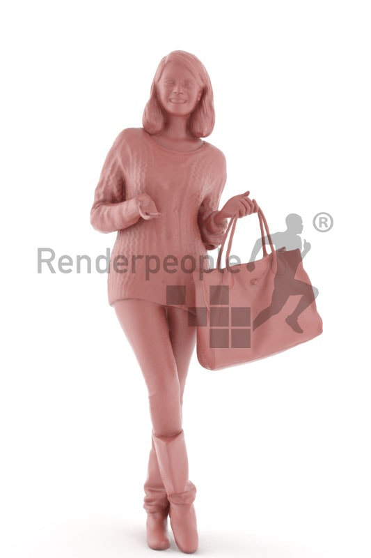 3d people shopping, indian 3d woman carrying her purse