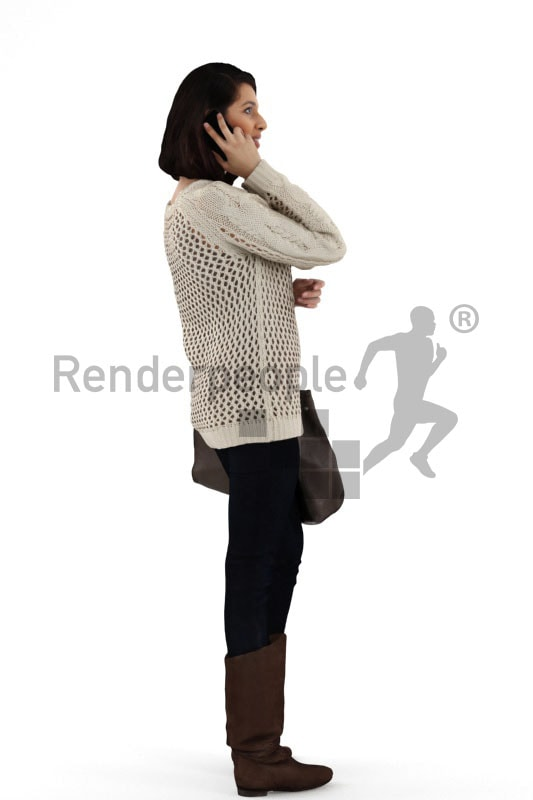 3d people shopping, indian 3d woman carrying her purse and talking on the phone