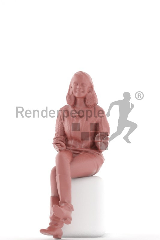 3d people casual, middle eastern 3d woman sitting and smiling