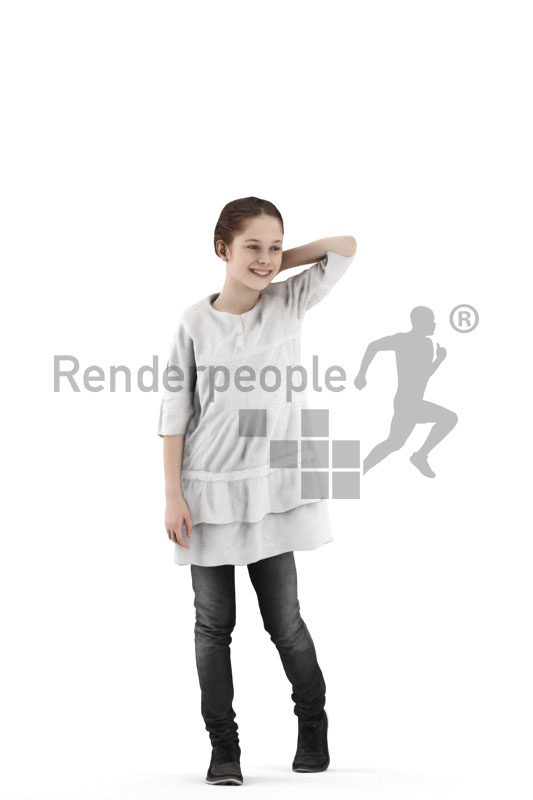 Scanned 3D People model for visualization – white girl walking in casual outfit