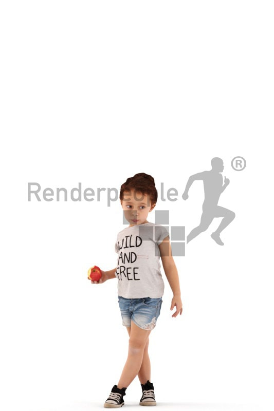 3d people casual, white 3d kid standing eating an apple