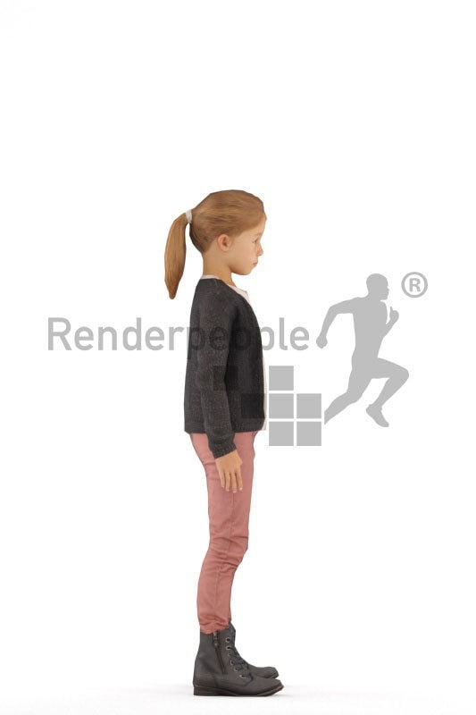 Animated human 3D model by Renderpeople – little european girl in casual clothing, idling