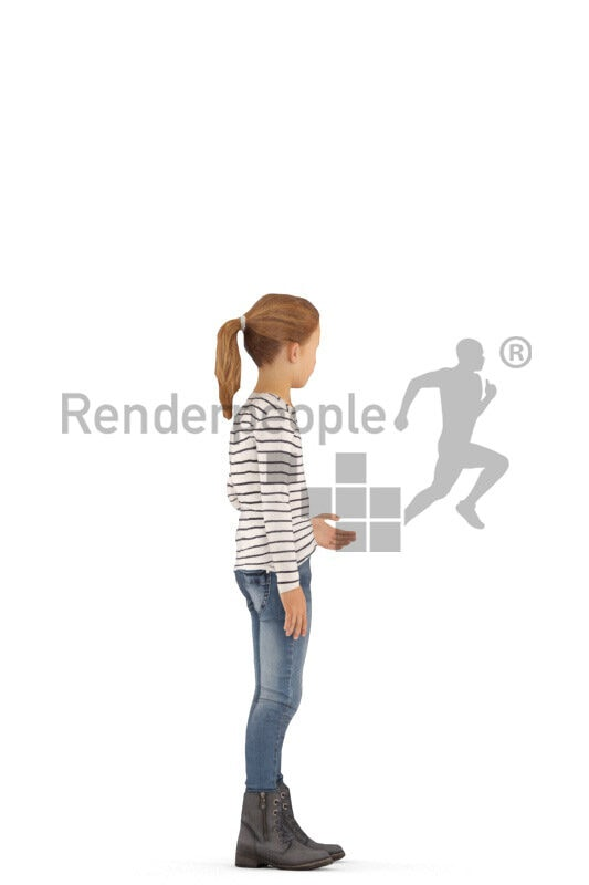 3D People model for animations – european girl in casual outfit, standing and waving