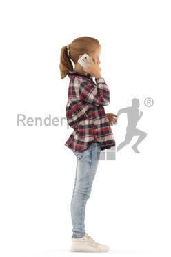 3d people casual, white 3d kid standing and calling