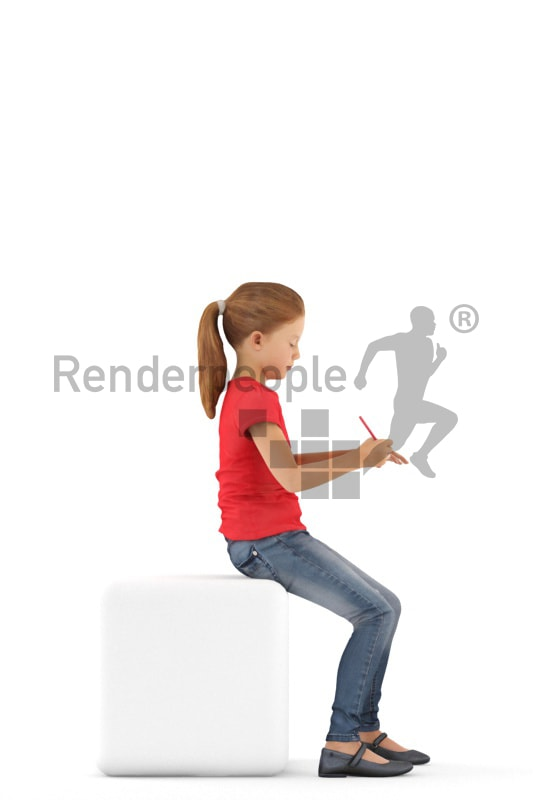 3d people casual, white 3d kid sitting writing