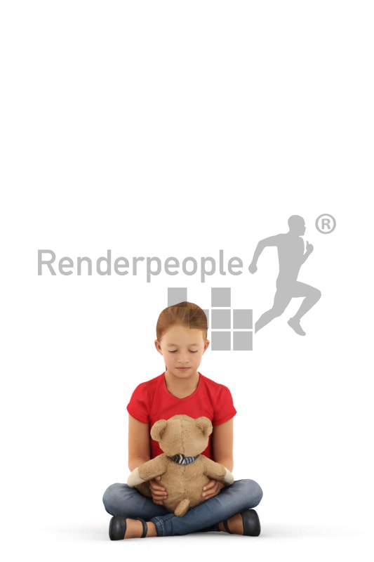 3d people casual, white 3d kid sitting playing with her teddybear
