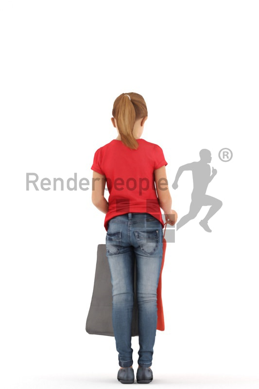 3d people casual, white 3d kid standing and looking into her shopping bag