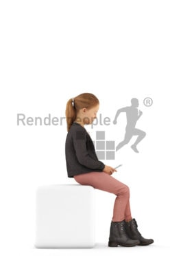 3d people casual, white 3d kid stitting and texting
