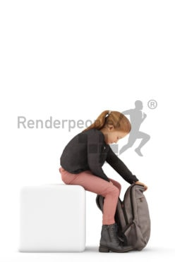 3d people casual, white 3d kid stitting and looking in her bagpack