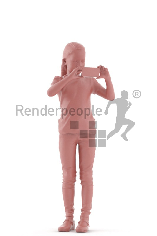 3d people casual, white 3d kid standing taking pictures