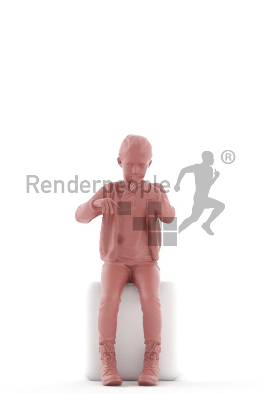 3d people casual, white 3d kid stitting and eating dinner
