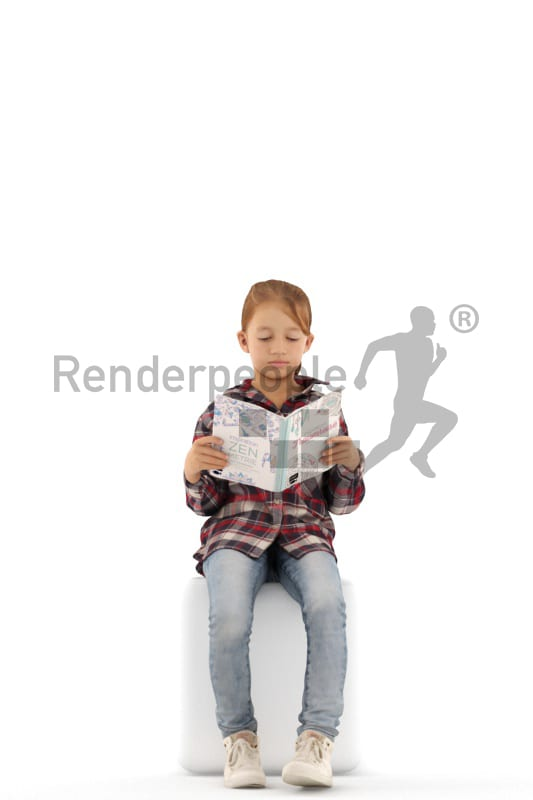 3d people casual, white 3d kid stitting and reading
