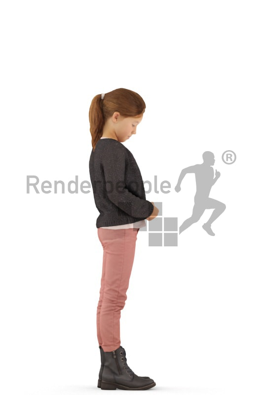 3d people casual, white 3d kid standing and closing her jacket