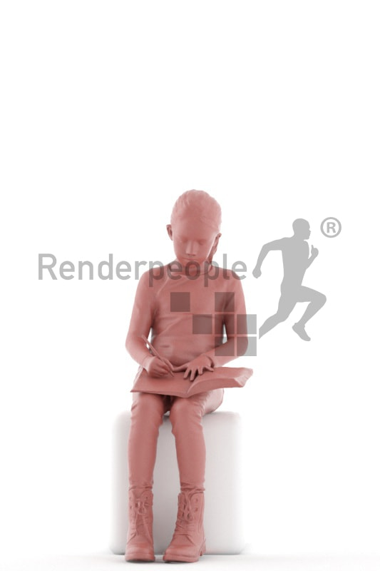 3d people casual, white 3d kid sitting and drawing