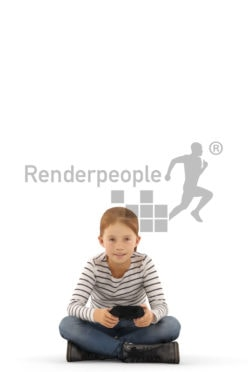 3d people casual, white 3d kid sitting and playing games