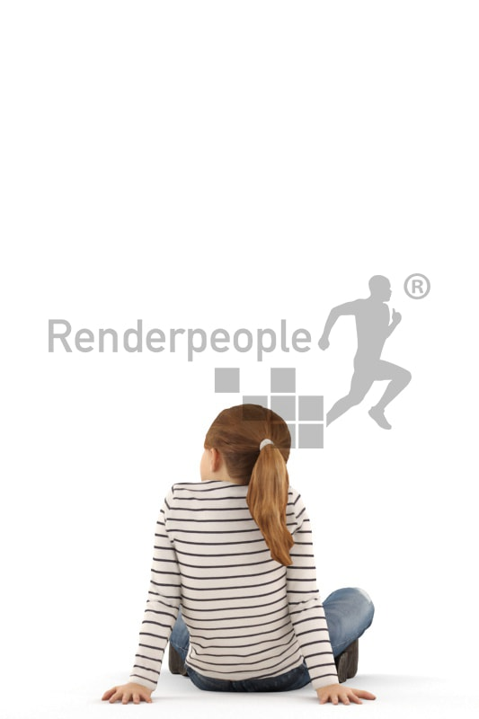 3d people casual, white 3d kid sitting on the floor