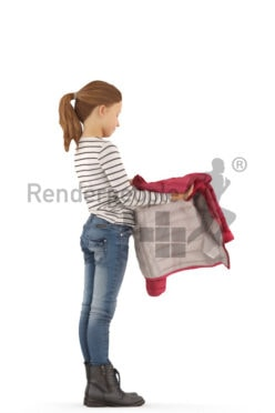 3d people casual, white 3d kid standing and putting on her jacket