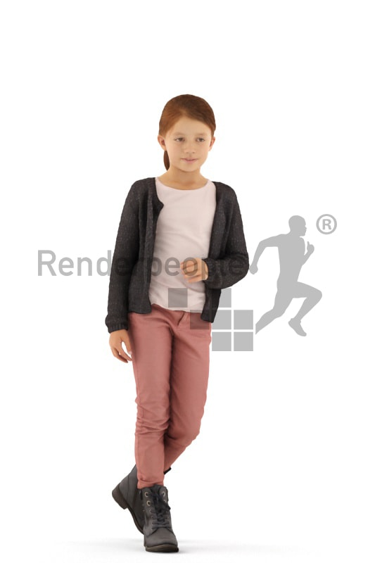 3d people casual, white 3d kid standing and leaning