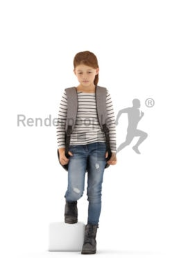 3d people casual, white 3d kid walking downstairs
