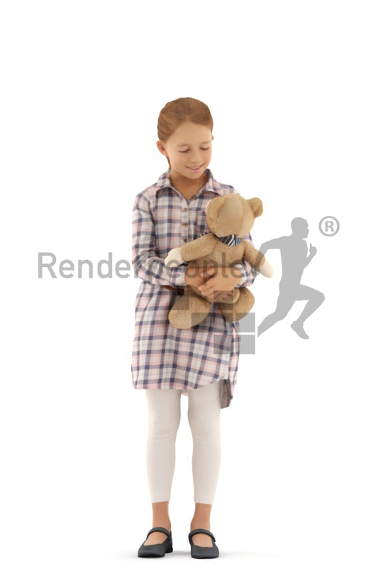 3d people casual, white 3d kid standning with her teddy bear