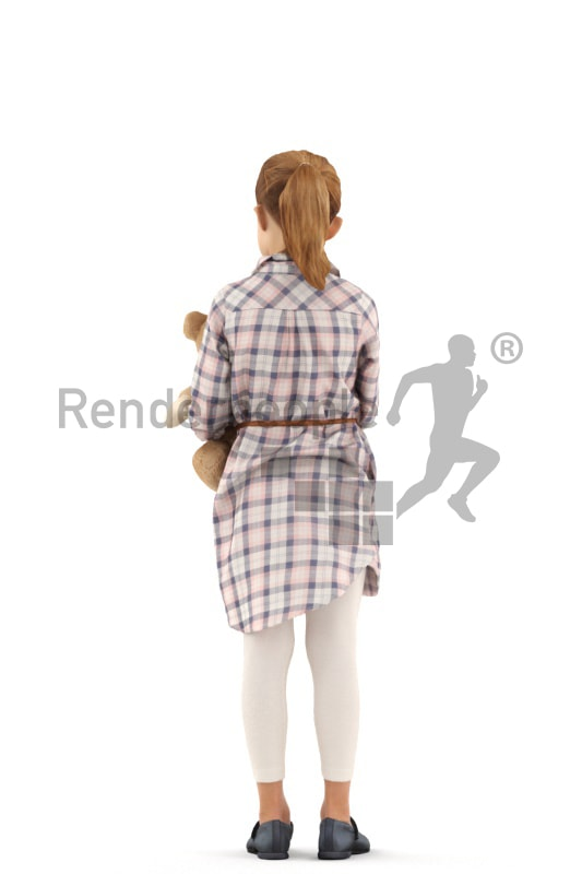 3d people casual, white 3d kid standing with her teddy bear