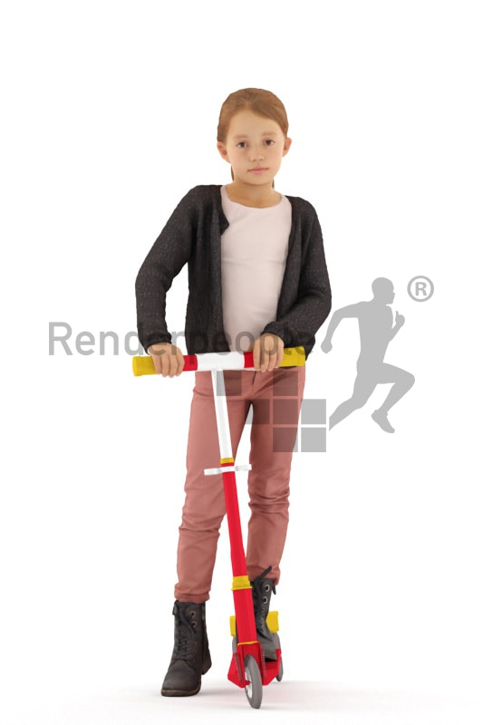 3d people casual, white 3d kid standning with her scooter