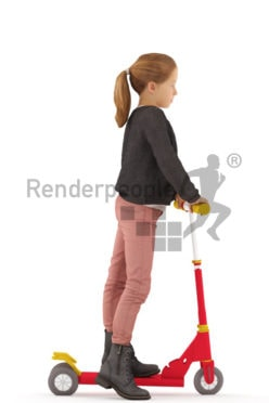 3d people casual, white 3d kid standing with her scooter