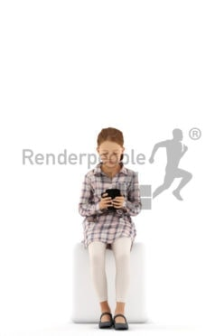 3d people casual, white 3d kid sitting and holding mug