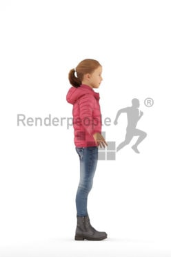 3d people outdoor, rigged kid in A Pose