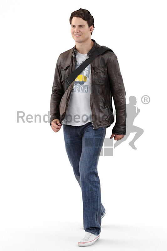 3d people casual, white 3d man with a bag walking