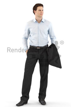 3d people business, white 3d man in a suit holding his jacket