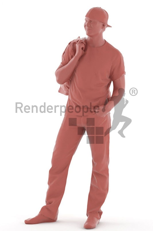 3d people casual, white 3d man with cap