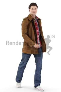 3d people outdoor, white 3d man with jacket walking