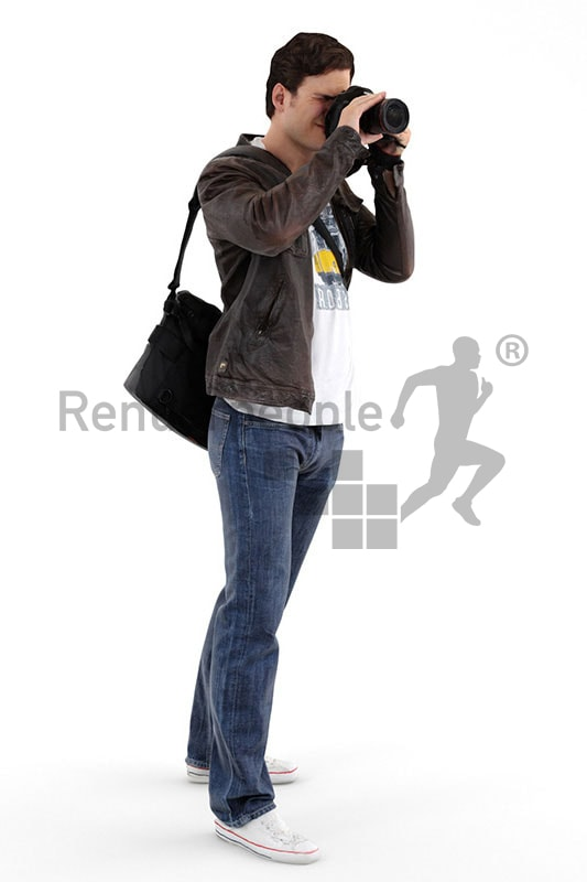 3d people outdoor, white 3d man with camera taking a photo