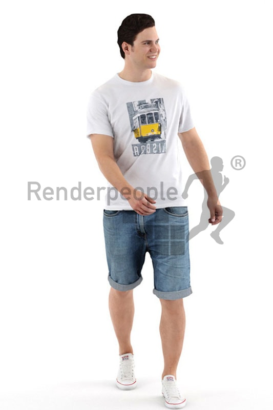3d people casual, white 3d man in shorts walking