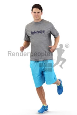 3d people sports, white 3d man jogging