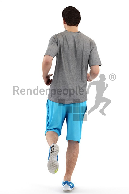3d people sports, white 3d man jogging