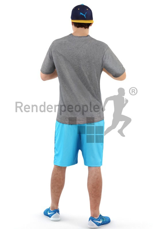 3d people sports, white 3d man playing football