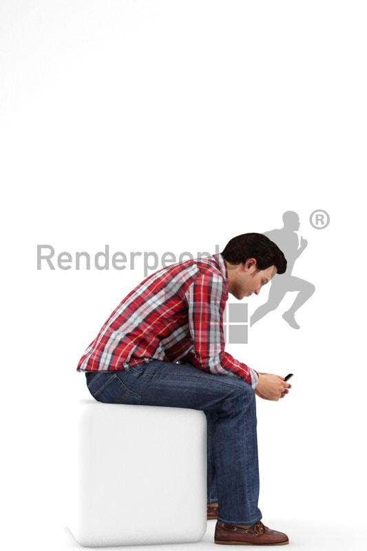 3d people casual, white 3d man sitting typing on his phone