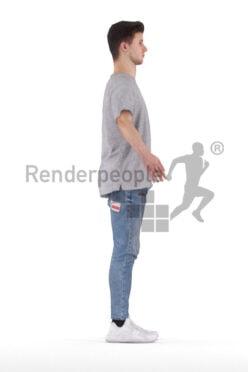 Rigged and retopologized 3D People model – european young man in casual daily look