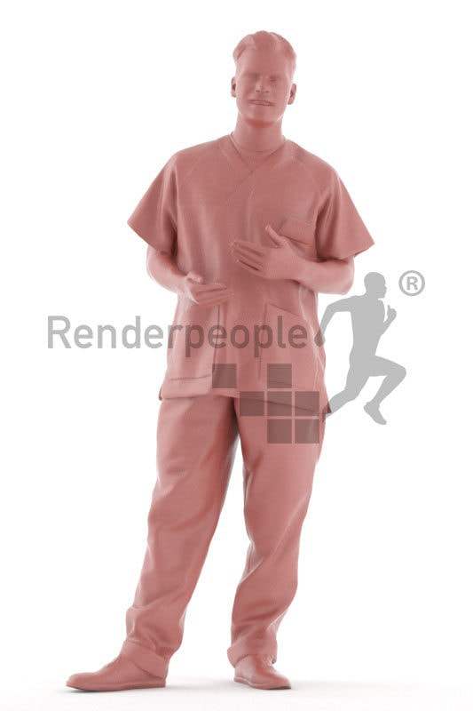 Posed 3D People model by Renderpeople – european man in healthcare outfit, standing and talking