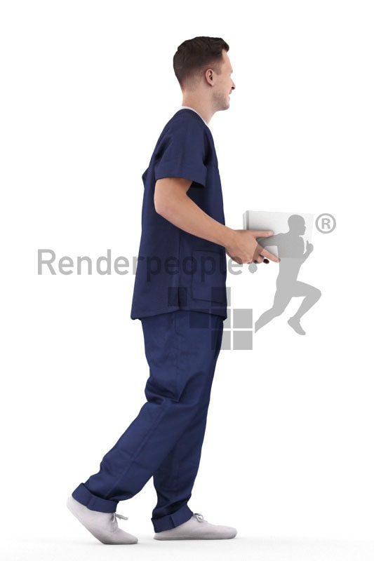 Posed 3D People model by Renderpeople – european man in scrubs clothing, carrying a box and walking